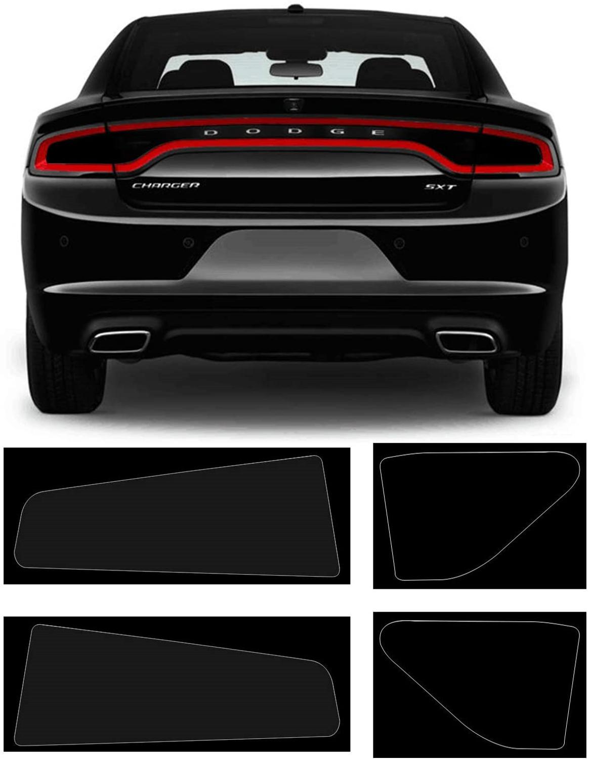 Bolaxin Dark Smoke Vinyl Tail Light Tint Kit for 2015-2020 Dodge Charger