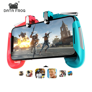 DATA FROG For PUBG Controller L1R1 Shooter Joystick For PUBG Mobile Trigger Gamepad Holder Cooler Fan for Iphone Android Phone pubg mobile gamepad pubg controller for iphone android ios for phone l1r1 grip with joystick trigger l1r1 pubg fire buttons