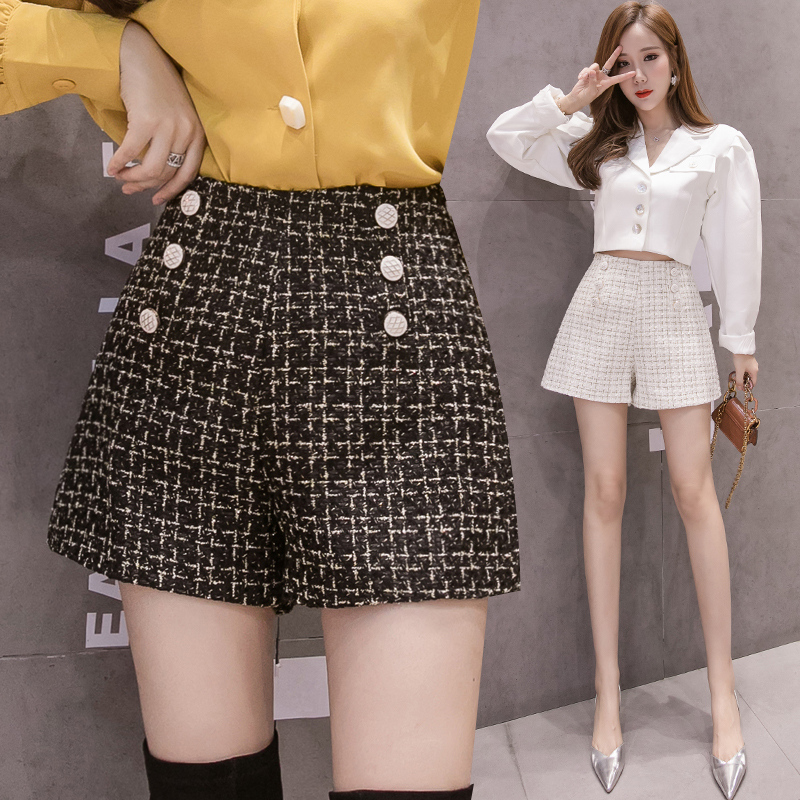 Real Photos Autumn Winter Tweed Plaid Double-breasted Empire Shorts Girls Wide Legged Shorts Bottoms Women