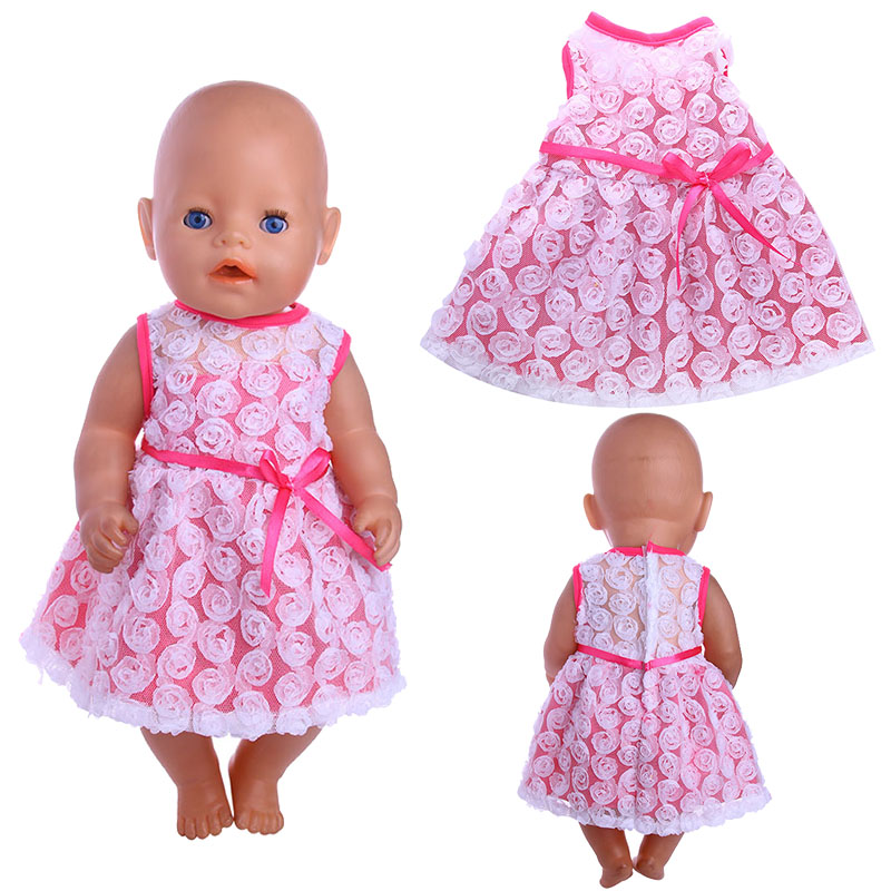 White Rose Dress Doll Clothes Fit 18 Inch American Doll&43 CM Born Baby Doll,Girl's Toys,Our Generation,Birthday& Christmas Gift