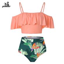 2019 Sexy Bandeau Bikini kobiety strój kąpielowy brazylijski Bikini zestaw strój kąpielowy na plaży strój kąpielowy Push Up stroje kąpielowe gorąca Biquini strój kąpielowy tanie tanio sporlike Stałe Drukuj Floral Wysokiej talii Bikini set Drut bezpłatne AM19283P1 WOMEN Pasuje prawda na wymiar weź swój normalny rozmiar