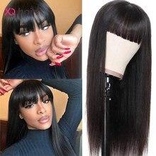 Xq malaio em linha reta perucas de cabelo humano com franja 100% remy cabelo humano parte superior do fechamento do laço peruca para preto mulher reta bob peruca
