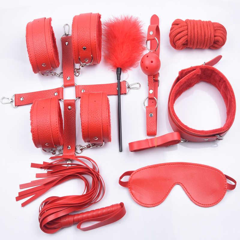 10 ピース/セット大人のおもちゃの豪華な手錠ホイップ乳首クランプロープ緊縛ボンデージセット大人のゲーム