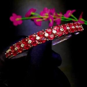 Image 4 - Natural ruby bracelet, hot quality, beautiful color, 925 sterling silver, adjustable size