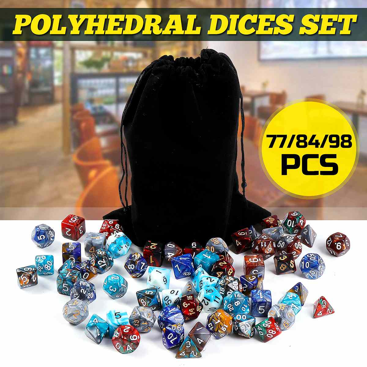 77/84/98Pcs Polyhedral Dice Set DND RPG MTG Dungeons And Dragons Board Games Role Playing D4-D20 Mixed Color Set + Storage Bags