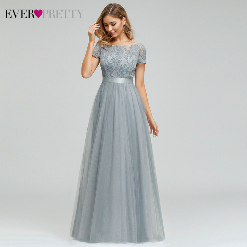 Elegant Lace Prom Dresses Long Ever Pretty A-Line O-Neck Short Sleeve See-Through Grey Formal Party Gowns Vestidos De Gala 2020