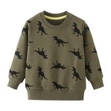 Футболки для мальчиков мультфильм Динозавр, свитшоты одежда с длинными рукавами для мальчиков г. Топы, осенне-зимние детские футболки с животными одежда для малышей