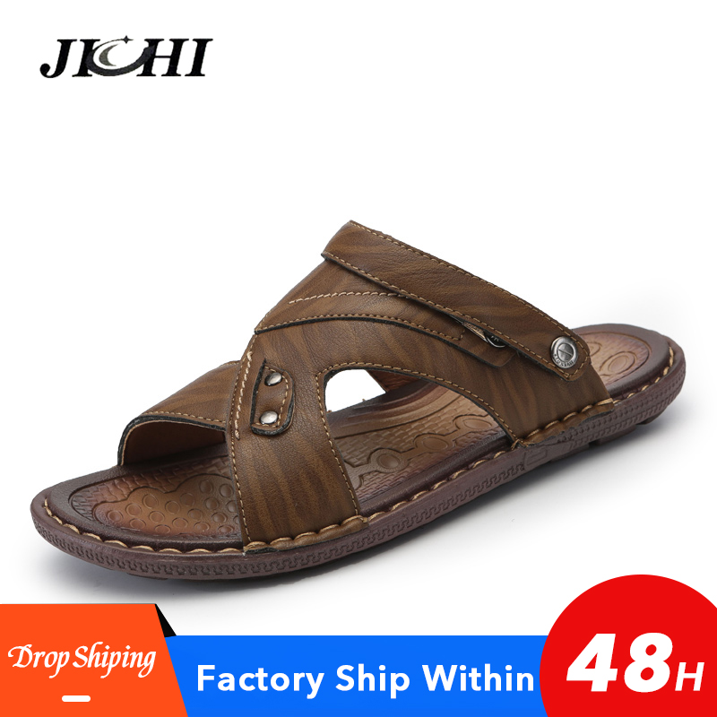 New Summer Sandals Men Leather Shoes Men Sandals High Quality  Beach Shoes Big Size 2019 Fashion