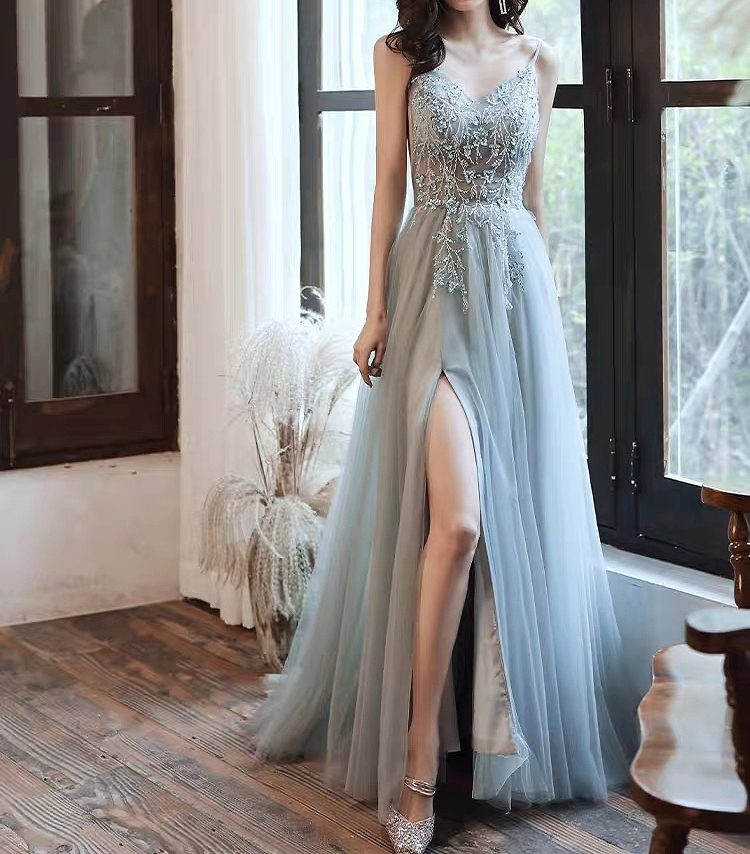 Blue Celebrity Dresses A-line Split Fork Beading Spaghetti Strap Tulle Sexy Red Carpet Floral Print Party Evening Gowns Elegant