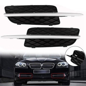 Car Front Bumper Lower Grille Cover & Chrome Trim For-BMW X5 E70 X6 E71 2007-2010 51117159593/51117168923 image