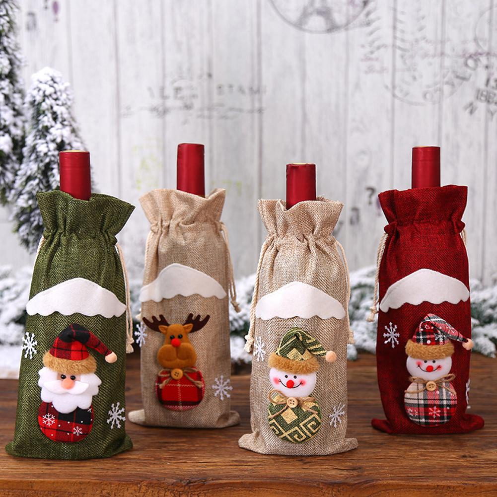 Christmas Wine Bottle Cover Snowman Santa Claus Elk Wine Cover Christmas Party Decoration New Year 2020 Wine Bottle Bags