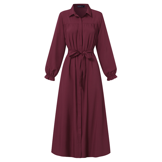 ZANZEA Women Vintage Dubai Abaya Turkey Hijab Dress Autumn Sundress Solid Muslim Islamic Clothing Long Sleeve Maxi Long Dress 5
