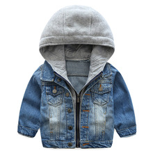 Baby Boys Jacket 2020 Casual Spring Autumn Cartoon Hooded Denim Jacket For Baby Girl Coat Jacket Kids Outerwear Children Clothes cheap Fashion COTTON Polyester Solid REGULAR Turn-down Collar Outerwear Coats Full Fits true to size take your normal size