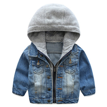 Baby Girls Jacket Clothes Autumn Winter Cartoon Denim Jacket For Baby Boys Coat Jacket Hooded Kids Outerwear Children Clothes cartoon baby children boys girls winter warm down jacket suit set thick coat jumpsuit baby clothes set kids jacket animal
