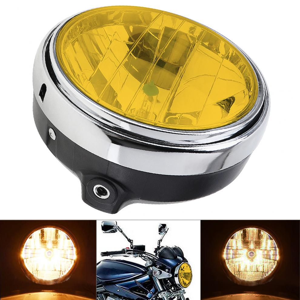 7 Inch 35W Universal Motorcycle Headlight Yellow Crystal Glass Clear Lens Beam Round LED HeadLamp For Wasps 600 900 CB400 / 900