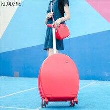 KLQDZMS 20inch meisjes reiskoffer vrouwen mode carry on trolley tas op wielen PC rolling bagage