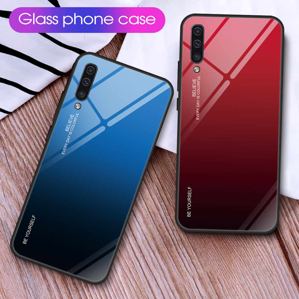 Gradient Phone Case For Samsung Galaxy A70 A50 A10 A20 A30 A40 A60 A20E Tempered Glass Cover For Samsung M20 M10 A10S A20S A50S