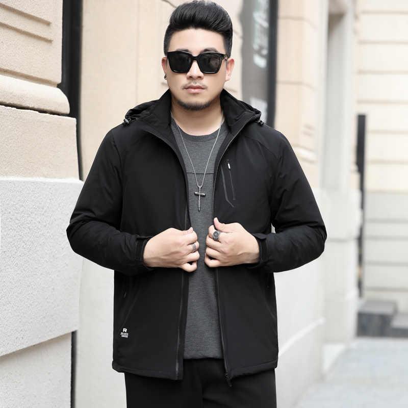 Novo plus size 10xl jaqueta de inverno dos homens outwear à prova dwaterproof água blusão com capuz jaqueta dos homens jaqueta esportiva outwear casacos de veludo fino