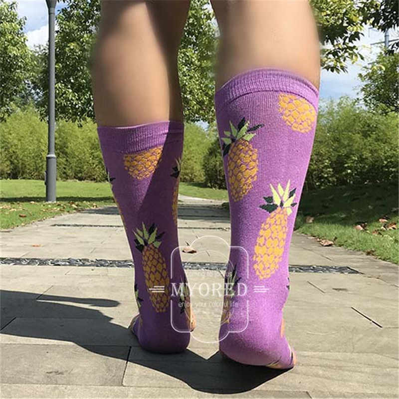 MYORED, 5 пара/лот, мужские цветные забавные носки, хлопковые, фруктовые, серия, длинные носки для мужчин, повседневные, яркие, разноцветные, свадебный подарок, без коробки