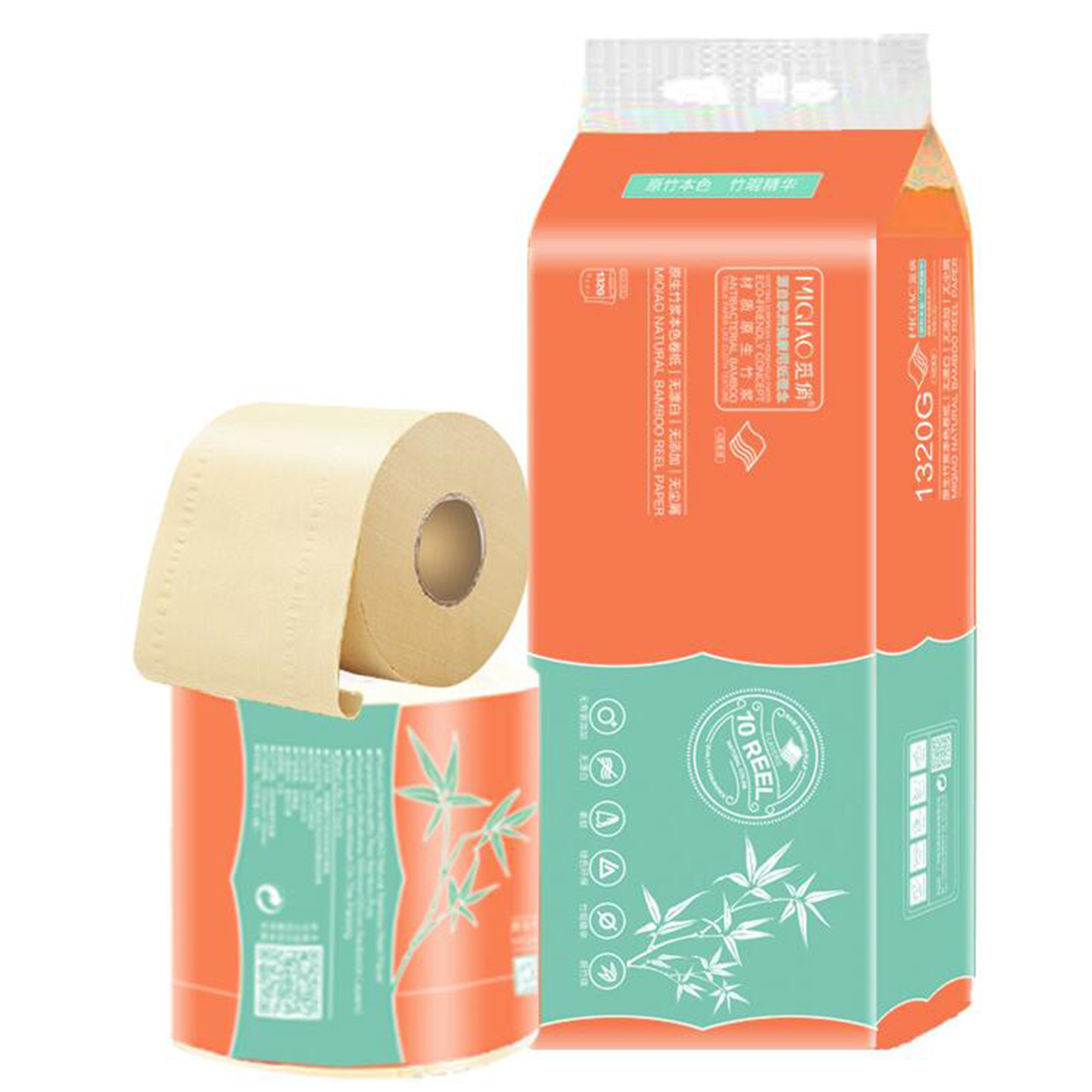 New Durable10 Rolls Of Toilet Paper Home 4-Layer Native Wood Pulp Paper Tissue Soft Rolling Paper 132g Per Roll Core Roll Paper