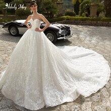 Adoly メイグラマラスアップリケロイヤル電車夜会服のウェディングドレス 2020 V ネックビーズオフショルダー王女ブライダルドレス