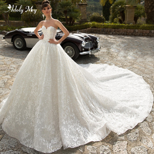 Image 1 - Adoly Mey Glamorous Appliques Royal Train Lace Ball Gown Wedding Dress 2020 V Neck Beaded Off the Shoulder Princess Bridal Dress