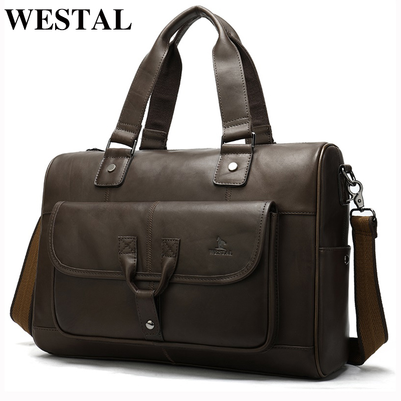 WESTAL Briefcase Men's Genuine Leather Bag Office Bags For Men Porte Document Leather Laptop Bag Men's Business Document For Men