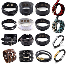 15 Styles Punk Wide Belt Men Leather Bracelet Wristband Cuff Bangle Women Gift Jewelry Hot Steampunk Handmade Accessories