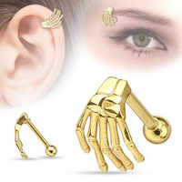 Pendientes de acero inoxidable con forma de mano fantasma para hombre y mujer, 1 Uds., Piercing Tragus de oreja, cono falso, joyería para el cuerpo