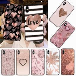 Funda de teléfono rosa y oro rosa para iPhone, funda protectora con corazones, para iPhone 11, 12 pro, XS, MAX, 8, 7, 6, 6S Plus, X, 5S, SE, 2020, XR