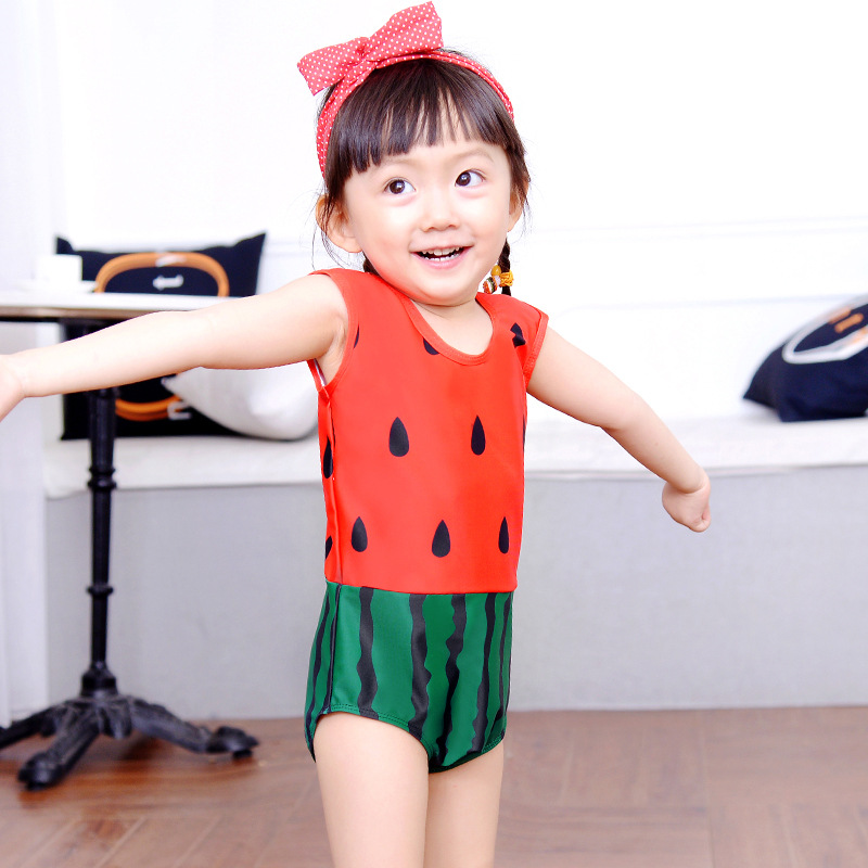 KID'S Swimwear GIRL'S Princess Baby Girls Swimwear Triangular One-piece Cute Red Watermelon Holiday Swimwear
