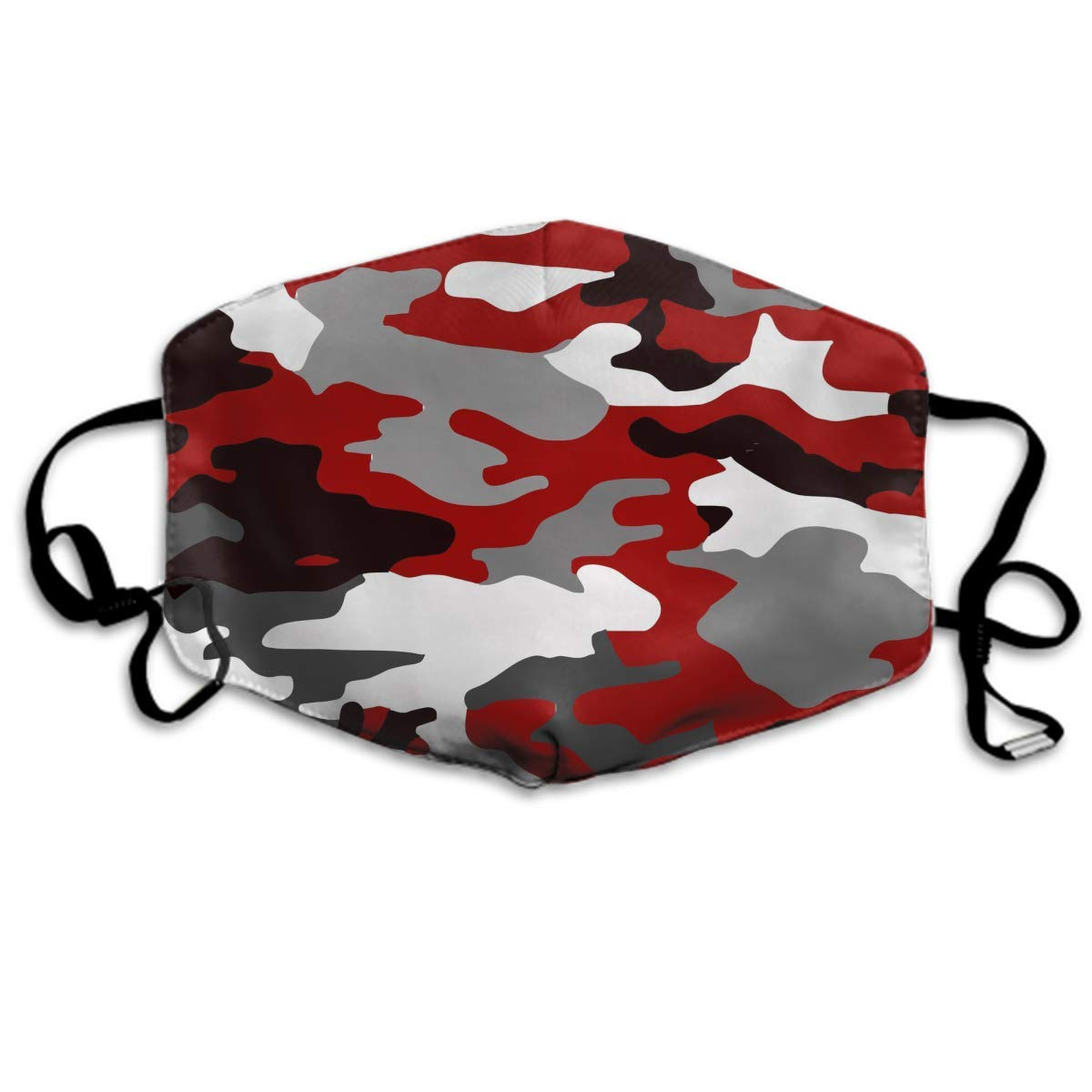 Comfortable Two Layer Dust Mask, Soft Red Camouflage Face Mask Cover Mouth For Adults And Teens