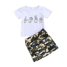 New Baby Girl Camo Clothes Kids Girls Short Sleeve Top+ Skirts Cool Child Summer Clothing