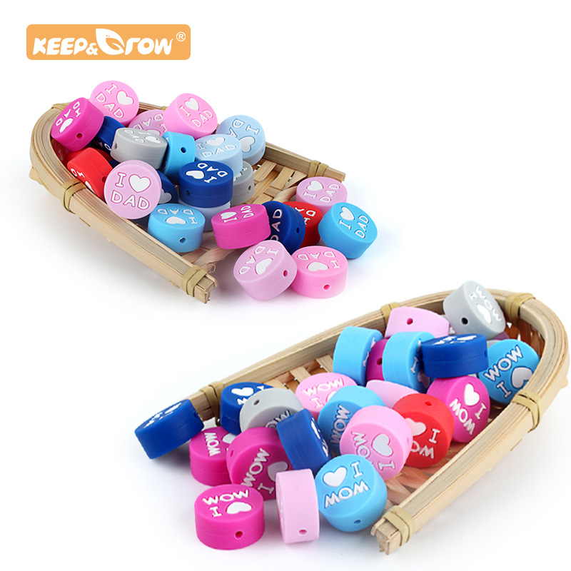 Keep&Grow 10pcs Round Silicone Beads I Love Mom Dad Rodent Teething Necklace Beads DIY  Perle Slicone Dentition Kralen Toys