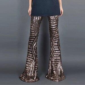 Image 2 - סקסי שחור Sequines רחב רגל ארוך מכנסיים נשים חדש גבוהה מותן מסיבת מועדון חג המולד מכנסיים מכנסיים תלבושת Streetwear התלקח מכנסיים