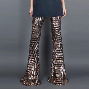 Image 2 - Sexy Black Sequines Wide Leg long Pants Women New High Waist Party Club Christmas Trousers Pants Outfit Streetwear Flared Pants