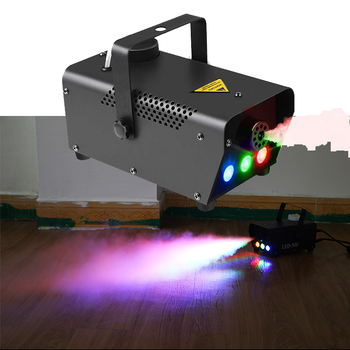 Mini 500W Fog Machine Wireless Remote Control RGB Mixed LED Colorful Effects Stage Fogger Projector DJ Disco Xmas Party Smoke