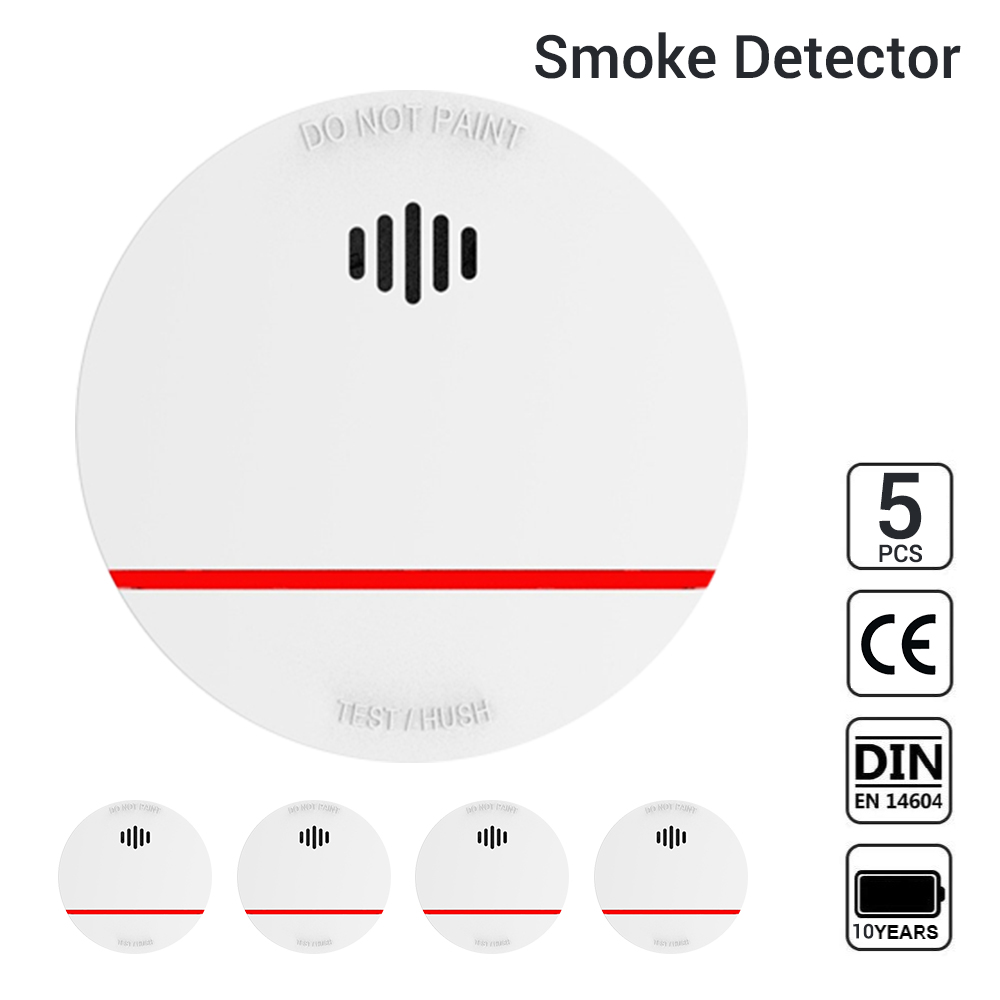 CPVan 5pcs/Lot Fire Detector 10 Yr Smoke Alarm EN14604 CE Certified Fire Alarm Wireless Smoke Detector Photoelectric Sensor