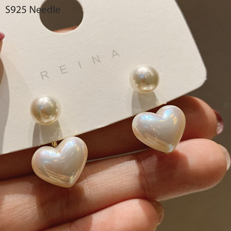 Real 925 Sterling Silver Needle Stud Earrings for Women Jewelry Double Side Heart Pearl Female Earrings(China)