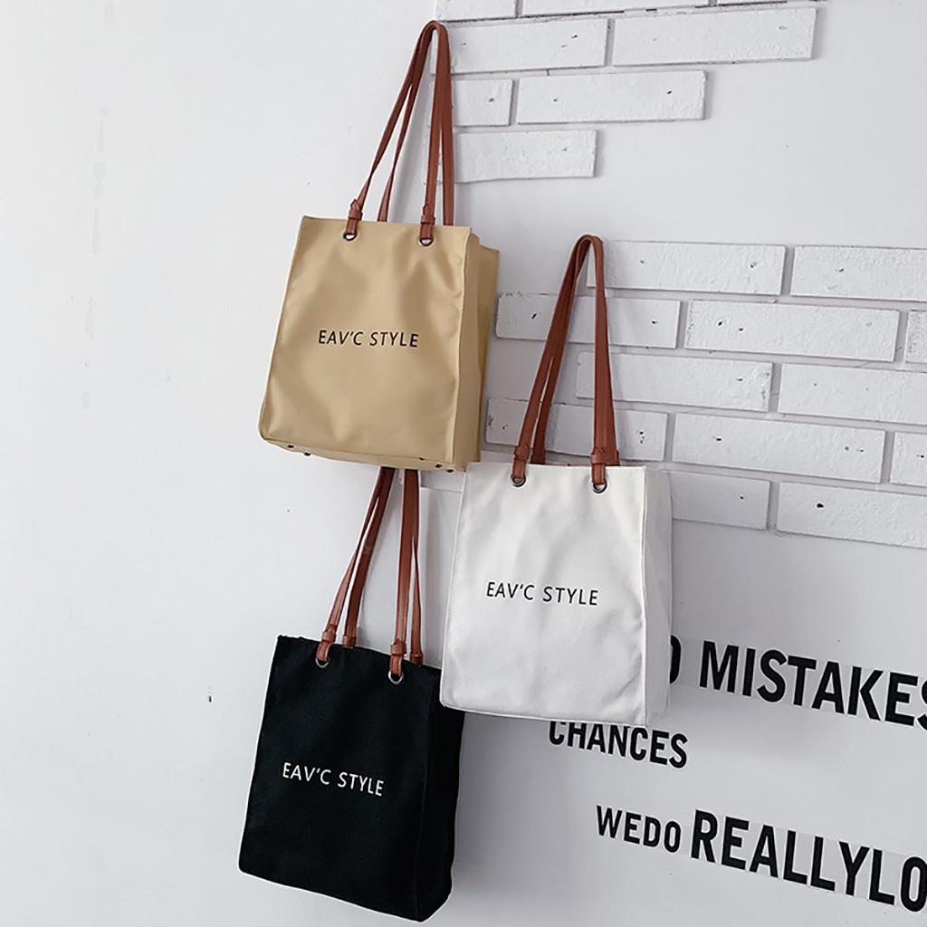 2019 High-Quality Women Men Handbags Canvas Tote Bags Reusable Grocery High Capacity Shopping Bag Concise Letter Printing *
