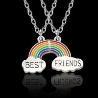 2Pc Colorful Rainbow Clouds Pendant Puzzle Necklace Best Friend BFF Jewelry Kids