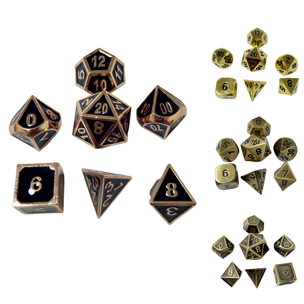 7Pcs/Set Multi Sides Dice Metal Game For Dungeons And Dragon RPG MTG BoardGame Polyhedral Dices Party Props Funny Kids Gift