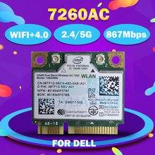 Для intel Dual Band Wireless-AC 7260HMWAC 7260HMW 7260AC half Mini PCI-e BT4.0 беспроводная карта 8TF1D для ноутбука Dell антенна