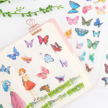 6 Set/pack Butterflies Stickers Beautiful for Kids Posted Kawaii  Scrapbooking Stationery Escolar School Supplies