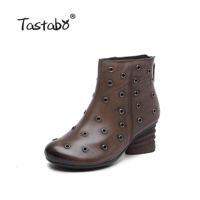 Tastabo hakiki deri yüksek topuk kadın çizmeler Vintage stil konfor kadın ayakkabısı aşınmaya dayanıklı kaymaz S99815 kahverengi gri