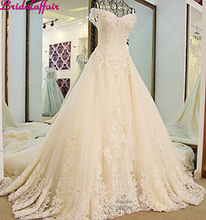 Luxury A line wedding dresses Crystal Appliques Lace designer wedding dress designers Royal Train wedding gowns 2019
