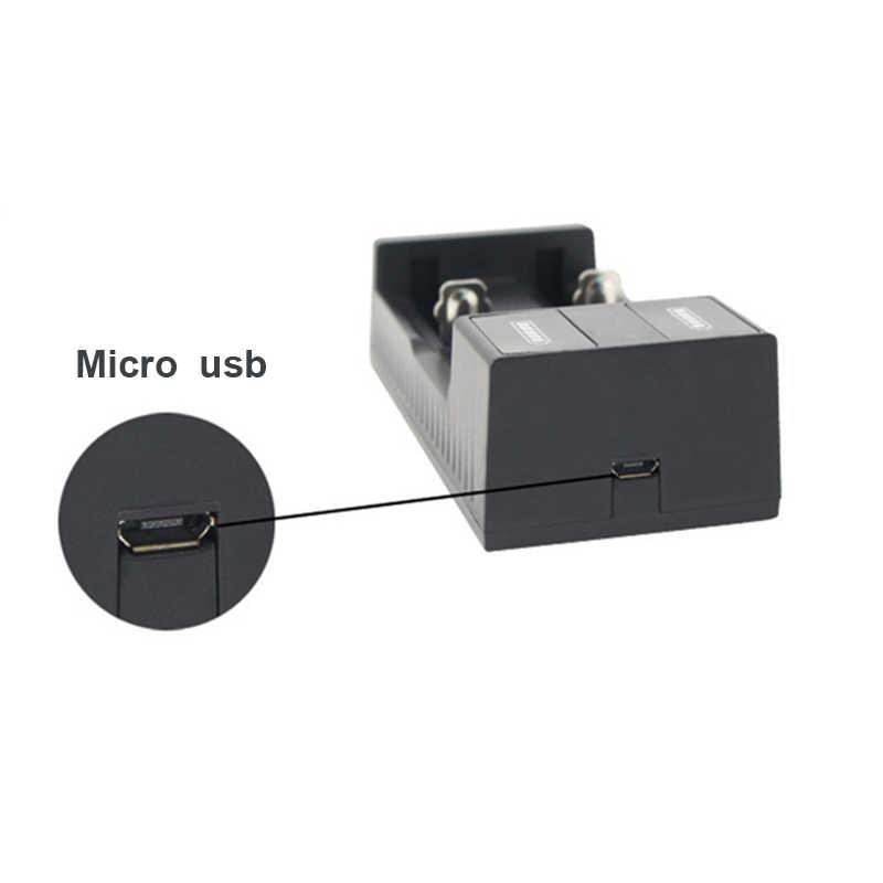 Cargador de batería Universal con 2 ranuras, carga inteligente por USB para baterías recargables, Li-ion, 18650, 26650, 14500