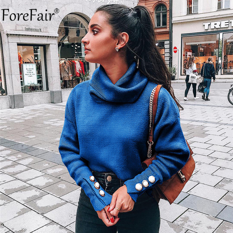 Forefair Turtleneck Sweater Women Button Warm Long Sleeve Jumper Casual Loose Knitted Autumn Winter Blue Ladies Pullover