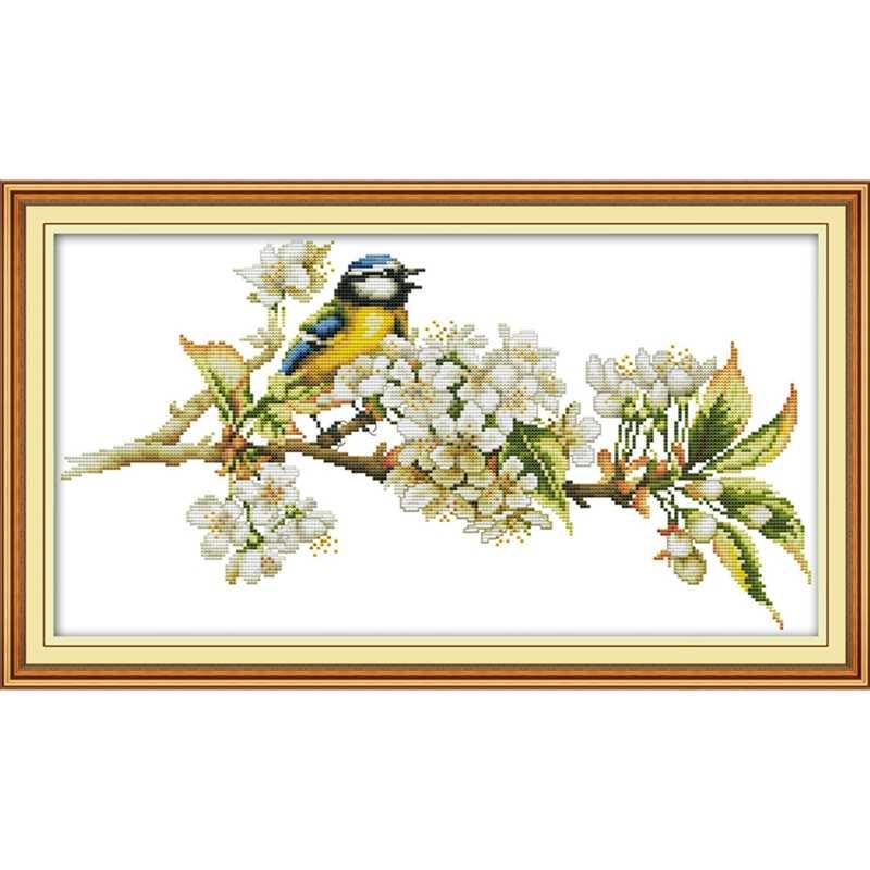 Uccelli e fiori kit punto croce aida 14ct 11ct numero di stampa della tela di canapa di punti di ricamo a mano FAI DA TE cucito