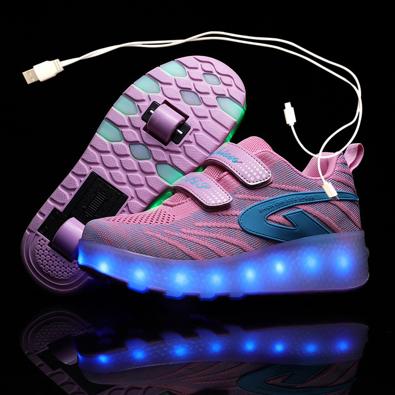 Children Pink Two Wheels Luminous Glowing Sneakers Black Led Light Roller Skate Shoes Kids Led Shoes Boys Girls USB Charging